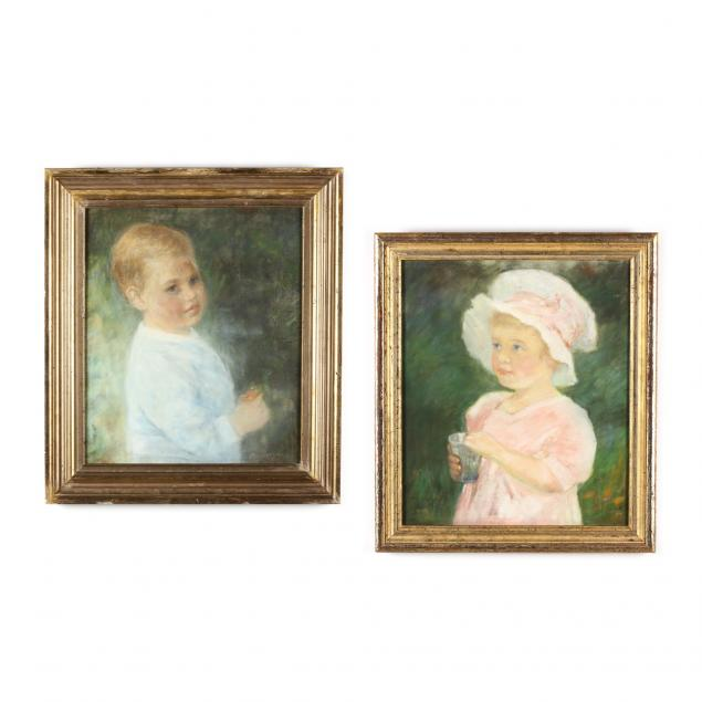 an-antique-pair-of-child-portraits-circa-1913
