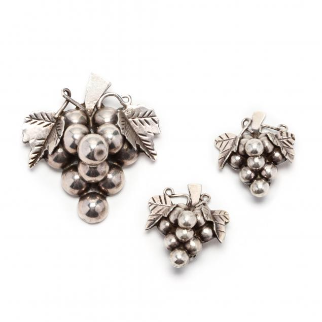 sterling-silver-earrings-and-brooch-mexico