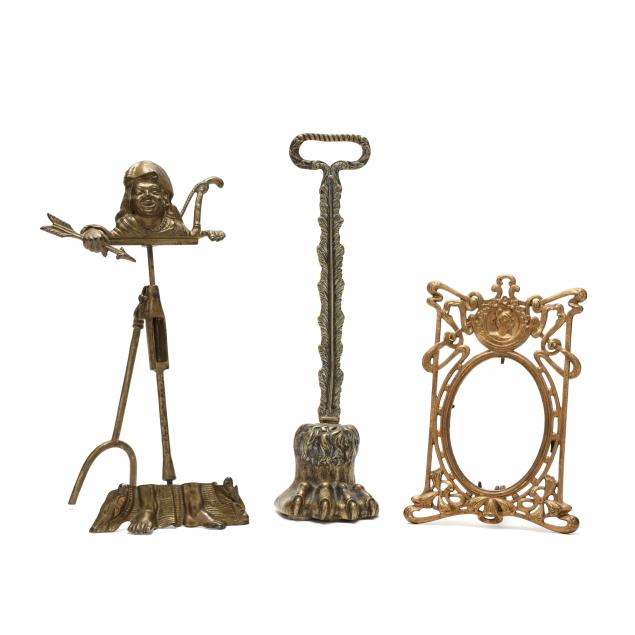 a-grouping-of-three-antique-brass-items