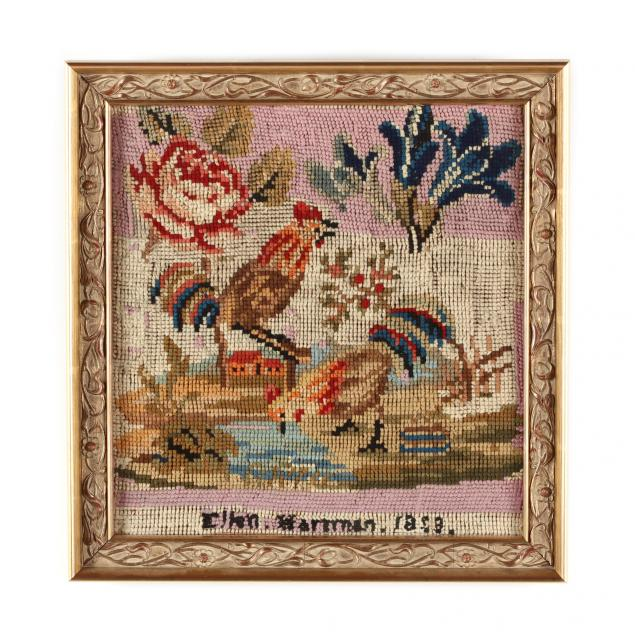 framed-needlework-picture-of-rooster-and-chicken