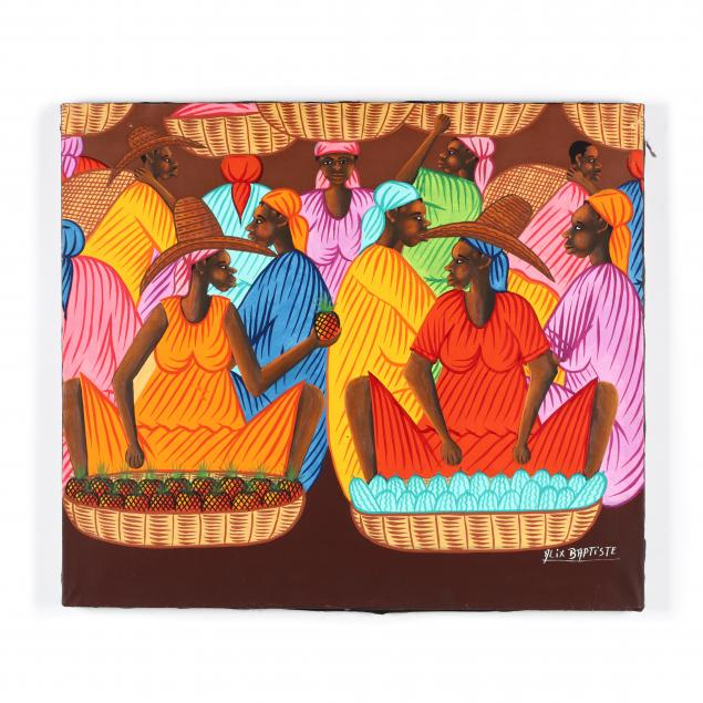 alix-baptiste-haitian-american-b-1964-painting-of-women-with-baskets-and-fruit