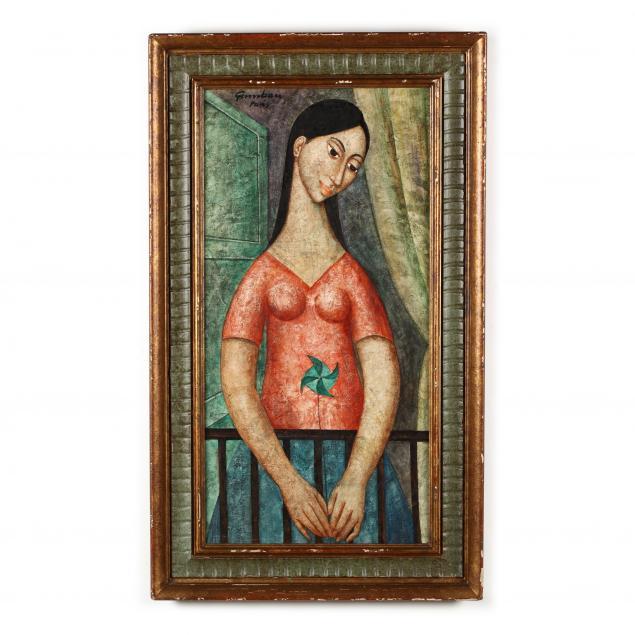 jose-vidal-gumbau-1907-1989-painting-of-a-woman-with-pinwheel
