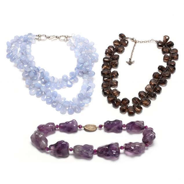 three-silver-and-gemstone-bead-necklaces