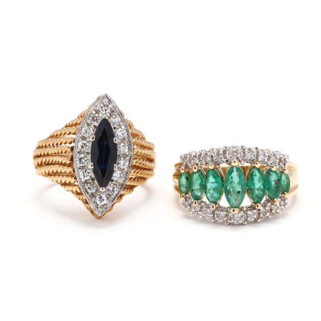 two-gold-gem-set-and-diamond-rings