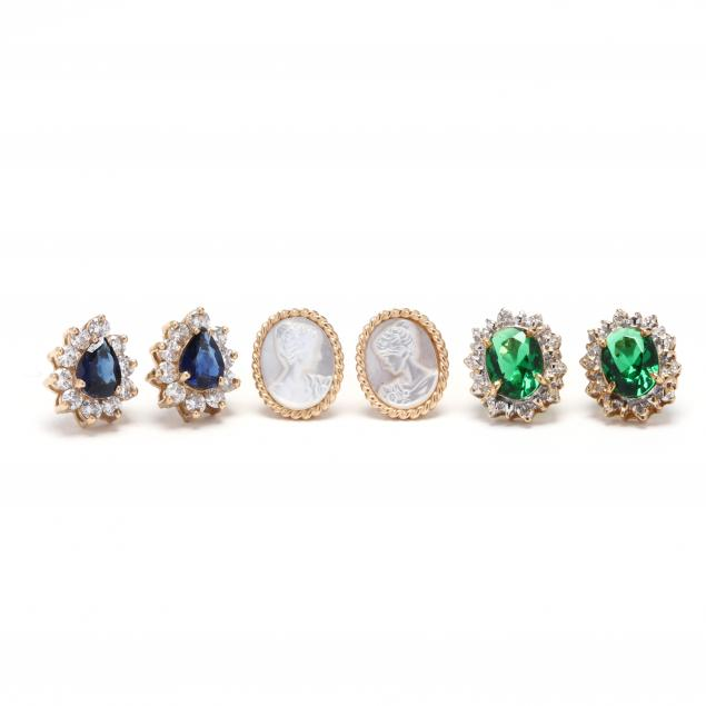 three-pairs-of-gold-and-gem-set-earrings