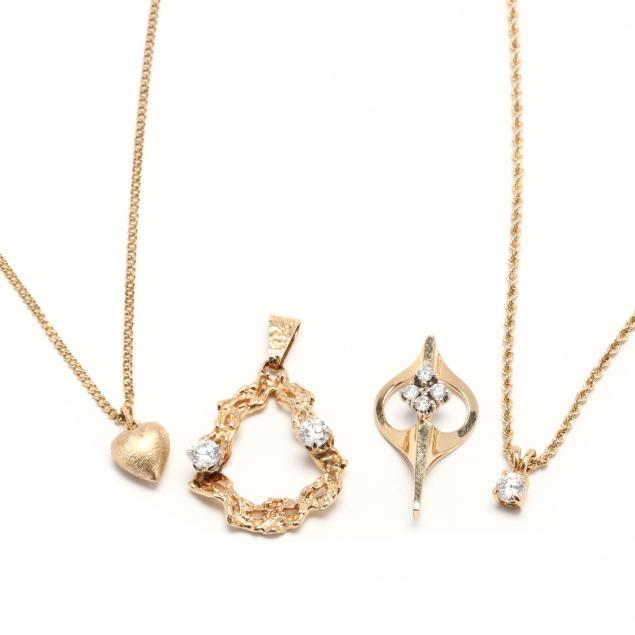 four-gold-and-diamond-pendants