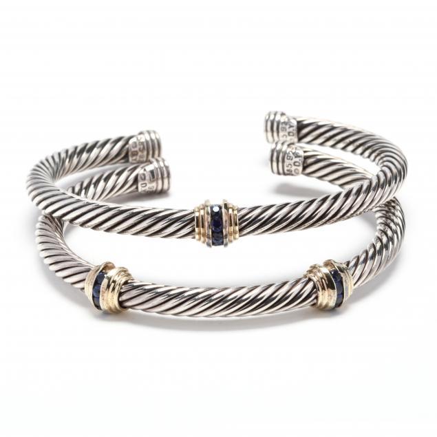 two-18kt-gold-silver-and-gem-set-cuff-bracelets-david-yurman