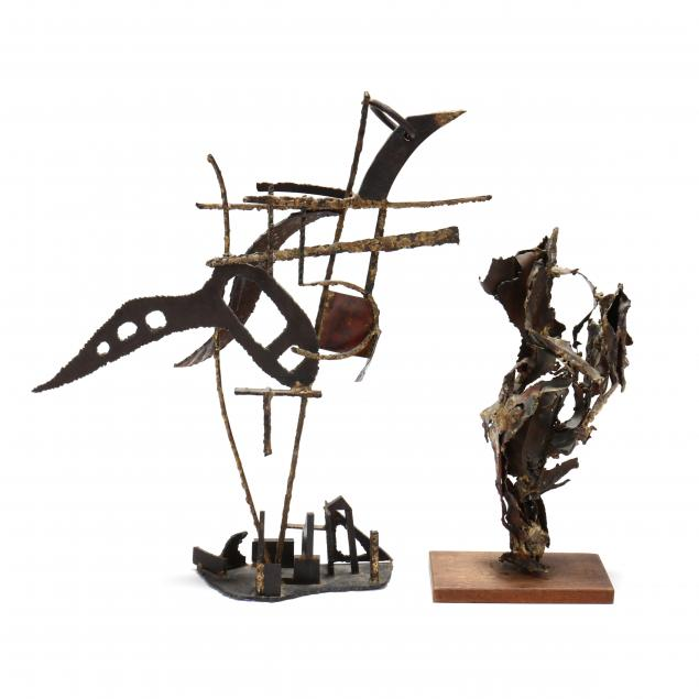 two-mid-century-abstract-metal-sculptures