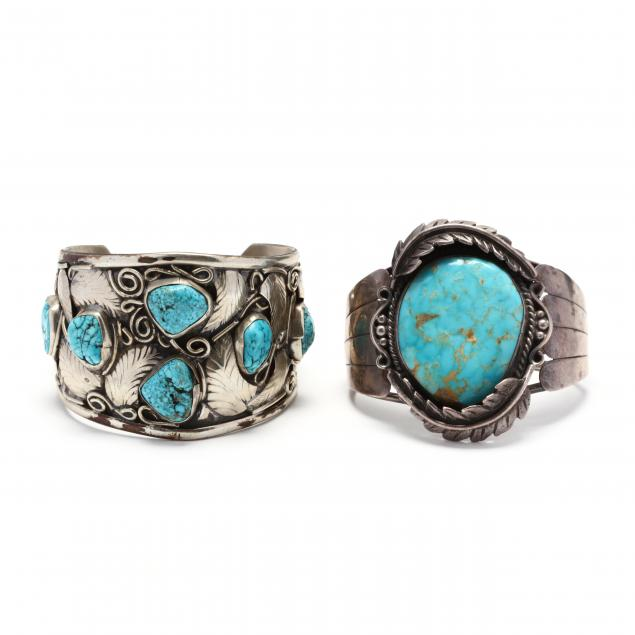 two-southwestern-silver-and-turquoise-cuff-bracelets