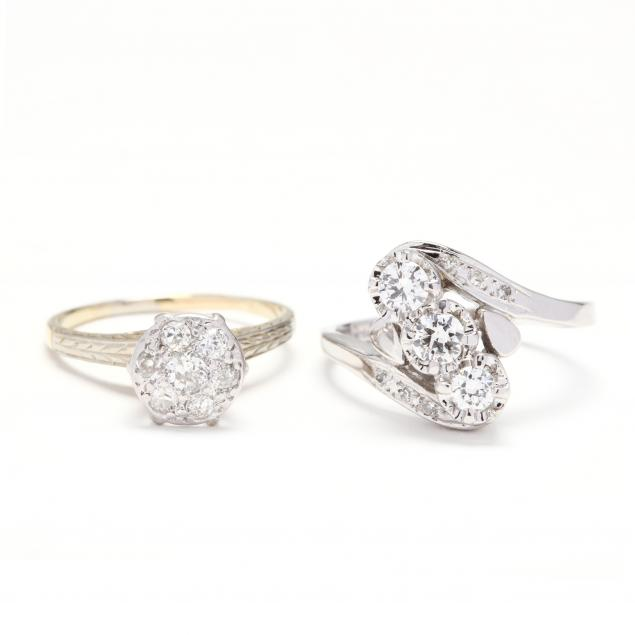 two-14kt-gold-and-diamond-rings