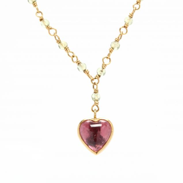 gold-pink-tourmaline-and-green-stone-necklace