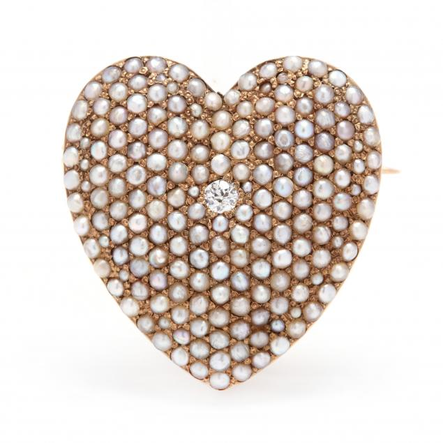 antique-14kt-gold-pearl-and-diamond-heart-brooch