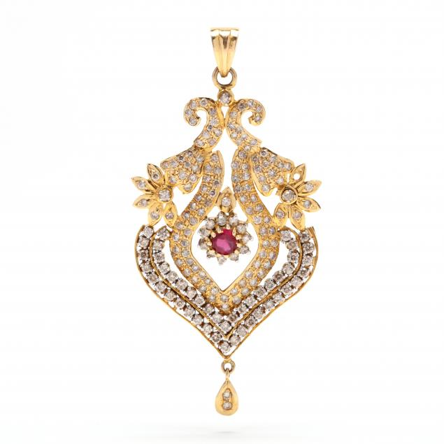 gold-diamond-and-synthetic-ruby-pendant