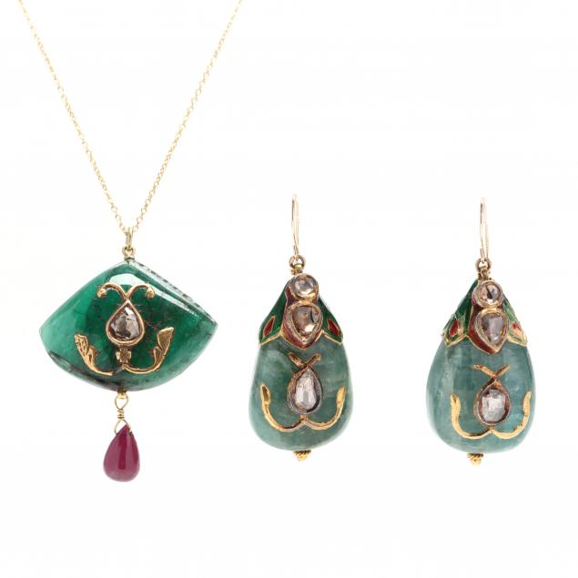 18kt-gold-emerald-diamond-ruby-and-enamel-necklace-and-earrings
