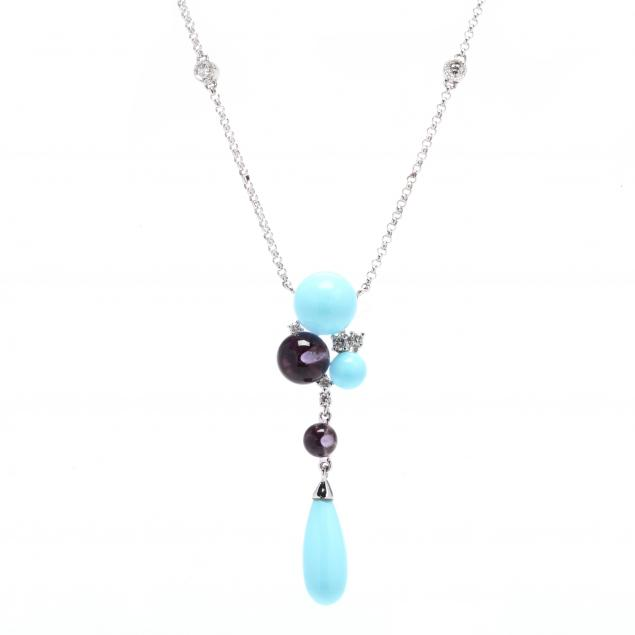 14kt-white-gold-turquoise-amethyst-and-diamond-necklace