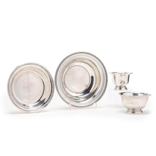 a-grouping-of-four-sterling-silver-bowls