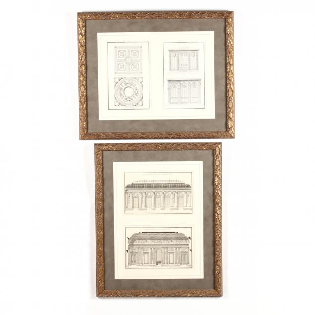 jean-francois-de-neufforge-french-1714-1791-four-antique-architectural-engravings-presented-in-two-frames