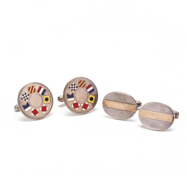 two-pairs-of-18kt-gold-and-sterling-silver-cufflinks-tiffany-co
