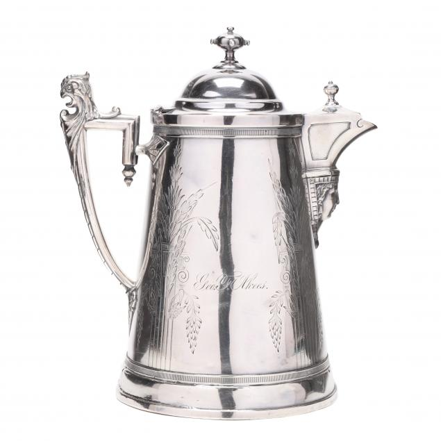 an-egyptian-revival-silverplate-ice-pitcher-by-reed-barton