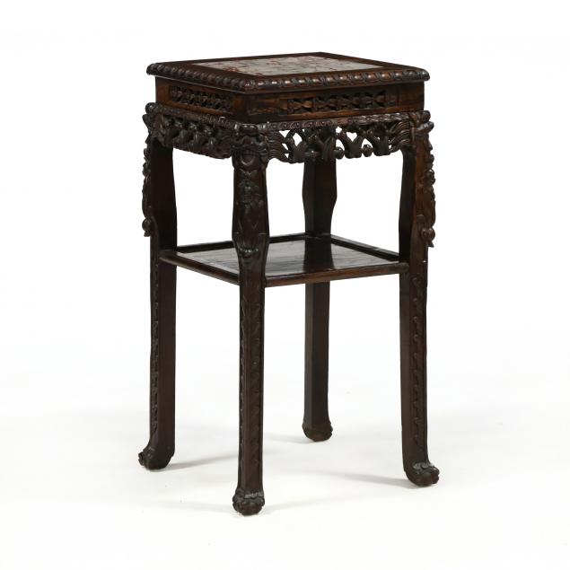 chinese-carved-hardwood-and-marble-stand