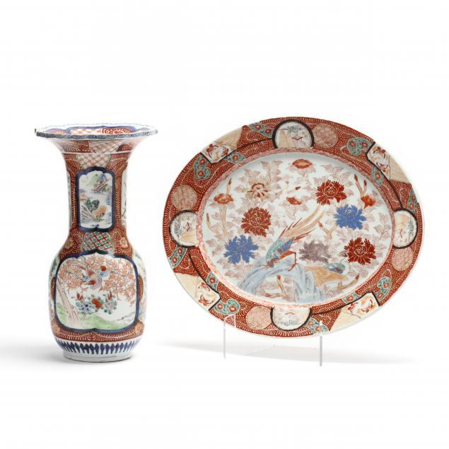 a-japanese-arita-imari-porcelain-vase-and-oval-tray