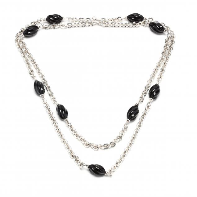silver-and-onyx-bead-station-necklace