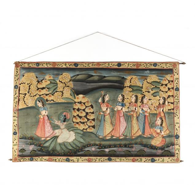an-indian-painting-of-krishna-and-radha-on-fabric