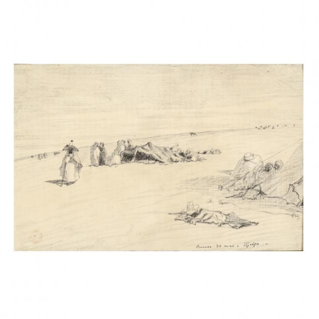 eugene-fromentin-french-1820-1876-drawing-of-an-algerian-camp-with-figures