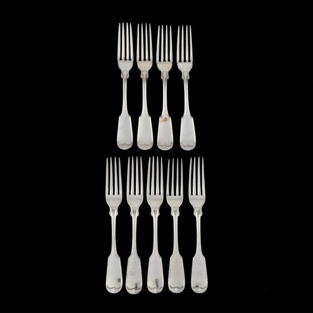 set-of-nine-southern-coin-silver-forks-mark-of-john-campbell