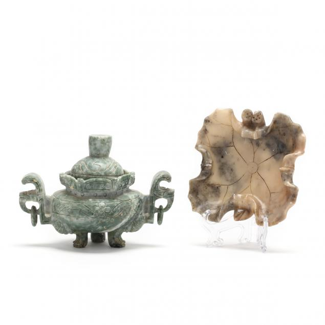 a-chinese-soapstone-covered-urn-and-a-hardstone-leaf-tray