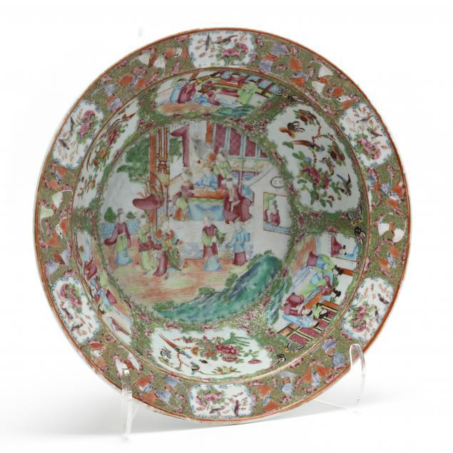 a-large-chinese-porcelain-rose-medallion-punch-bowl