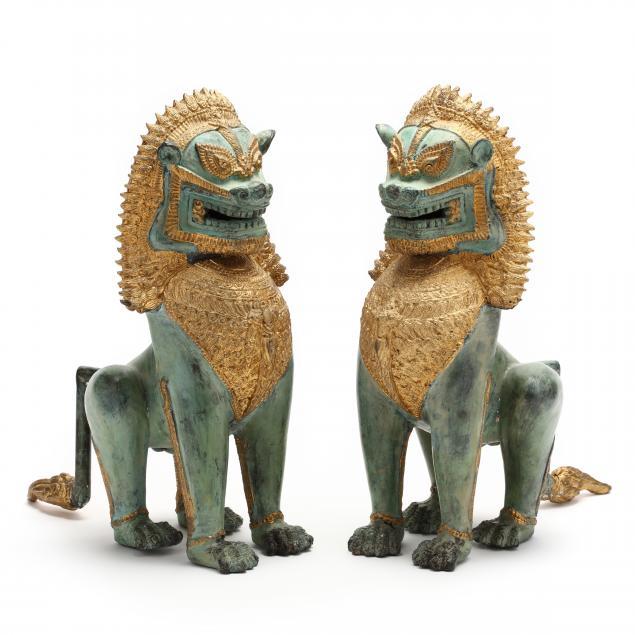 a-pair-of-southeast-asian-gilt-bronze-temple-lions