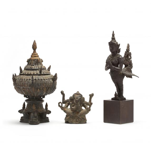 a-group-of-southeast-asian-bronze-items