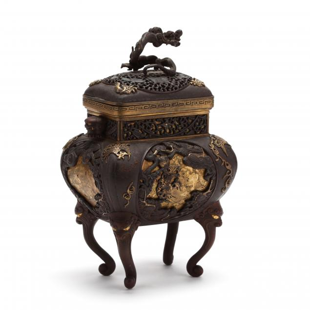 a-chinese-gilt-parcel-bronze-censer-with-cover