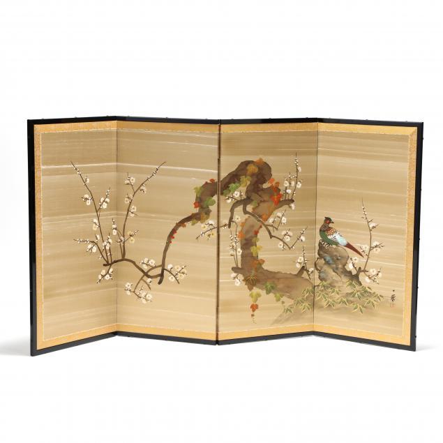 a-japanese-four-panel-silk-folding-screen