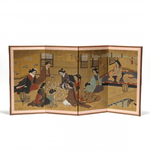 a-japanese-four-panel-folding-screen-of-ladies