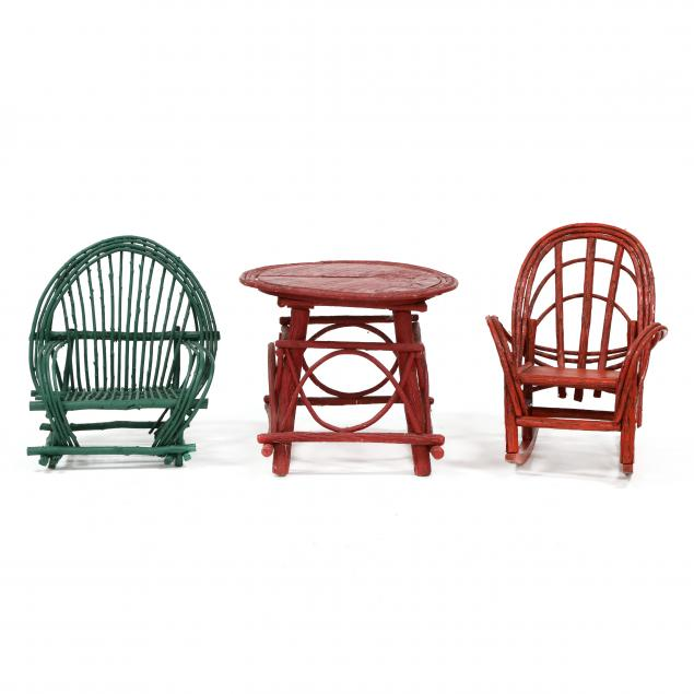 three-pieces-of-painted-twig-child-s-furniture