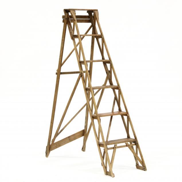 antique-primitive-pine-folding-ladder
