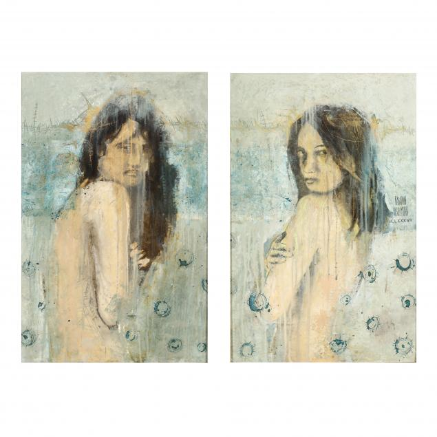 rene-rabadan-nishimura-mexican-20th-21st-century-a-pair-of-paintings-woman-looking-over-her-shoulder