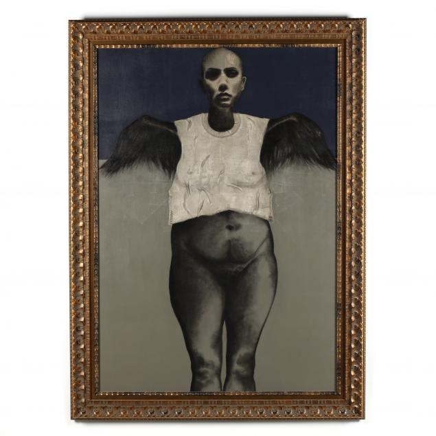 rene-rabadan-nishimura-mexican-20th-21st-century-life-size-painting-of-woman-with-wings