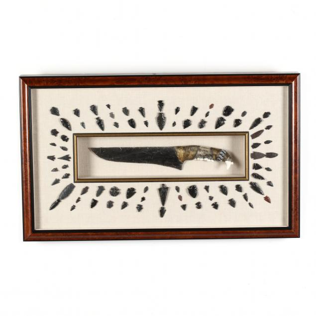 shadowbox-frame-display-of-79-obsidian-arrowheads-and-an-obsidian-knife