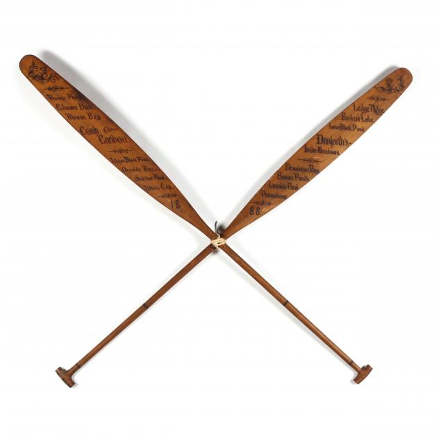 an-antique-crossed-pair-of-large-wooden-trophy-oars