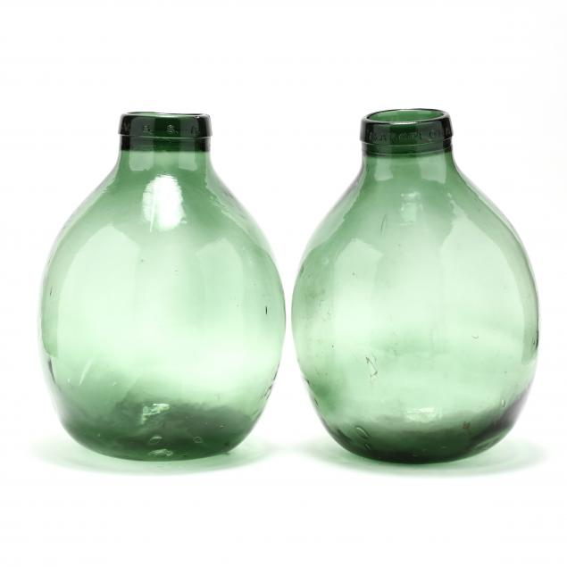 two-large-spanish-green-glass-demijohn-bottles