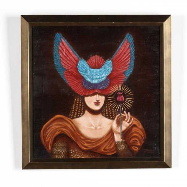 francisco-de-anda-mexican-20th-21st-century-woman-in-a-winged-headdress-with-flower
