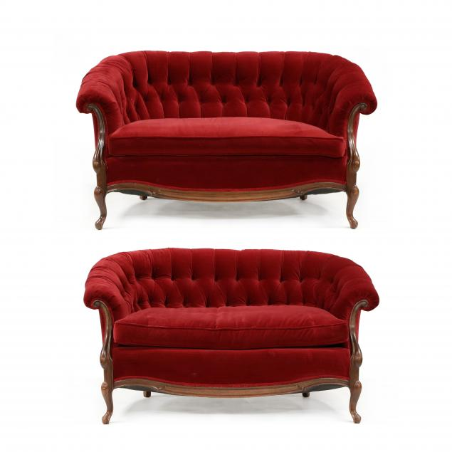 pair-of-american-rococo-style-red-velvet-tufted-settees