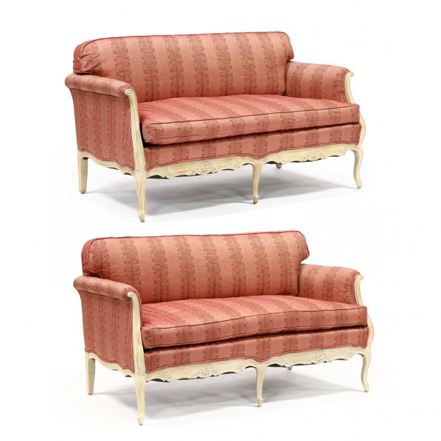 pair-of-french-provincial-style-upholstered-fruitwood-settees