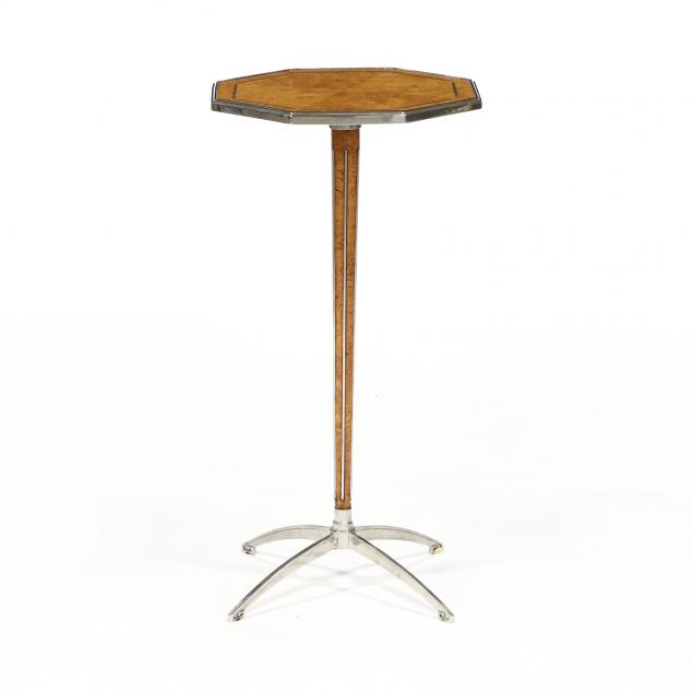 att-theodore-alexander-modernist-burlwood-and-steel-side-table