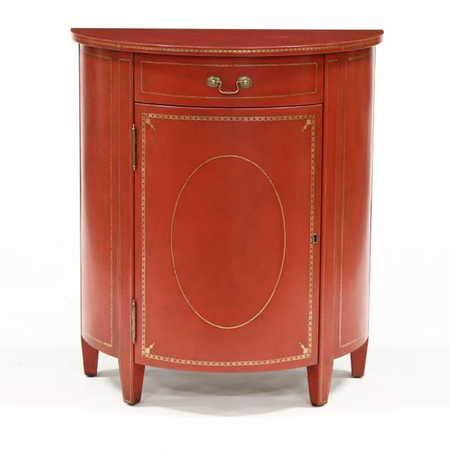 att-theodore-alexander-leather-wrapped-demilune-cabinet