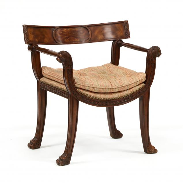 theodore-alexander-grecian-style-carved-mahogany-armchair