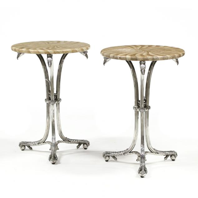 att-theodore-alexander-pair-of-stone-veneer-and-steel-side-table